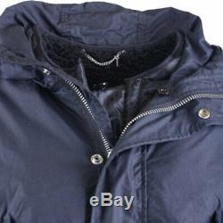 DIESEL Mens Parka Jacket Hooded Padded Quilted Winter Outwear Long Black Coat