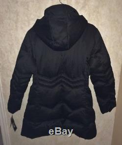 DKNY Black Hooded Down Quilted Long Jacket Puffer Coat Parka NEW Womens Petite L