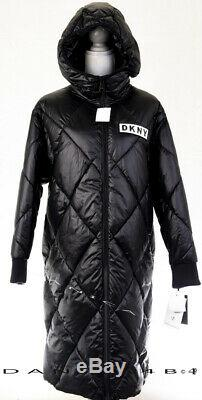 DKNY Jeans Diamond Quilted Hooded Water Resistant Long Coat Puffer S Black