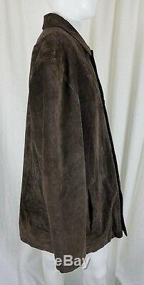 Dockers Brown Brushed Leather Suede Rancher Coat Mens XL Quilted Long Jacket