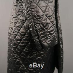 EMPORIO ARMANI 42 Black Quilted Polyester Blend Notch Lapel Long Coat