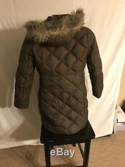 Eddie Bauer Premium Goose Down Quilted Puffer Coat Brown Jacket Faux Fur Hood