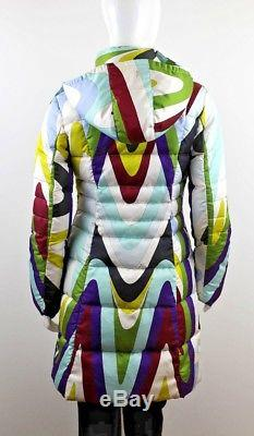 Emilio Pucci Women's Long Quilted Hooded Coat Jacket Size Us6 Uk8 It40