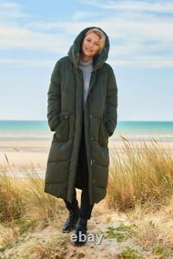 Emma Willis Next Khaki army green long padded puffer coat jacket size 16 duvet