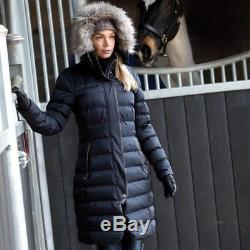 Equetech Rowant Long Quilted Coat Blue Size Xs (8)  Riding/equestrian