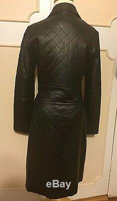 Express Women Quilted 100% Leather Long Coat Jacket 3/4 S/smallblackgorgeous