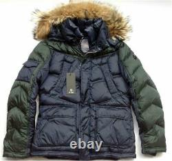 F32 ITALY DESIGN Mens Fur Hooded Down Jacket, Real Fur Hood Winter Parka Coat