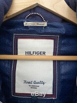 Flattering TOMMY HILFIGER Ladies Coat Faux Fur Hood Long Zip Navy Blue L 10/12