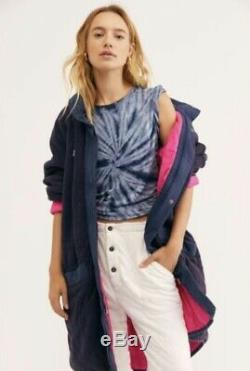 Free People Coat Puffed Out Quilted Zip Reversible We The Free Blue Pink S NEW