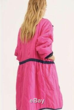 Free People Coat Puffed Out Quilted Zip Reversible We The Free Blue Pink XL NEW