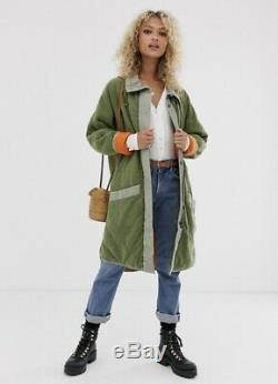Free People Coat Puffed Out Quilted Zip Reversible We The Free Green L NEW
