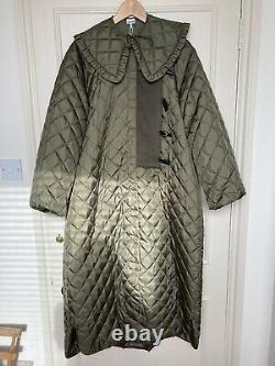 GANNI Quilted Tech Dbl Breasted Coat detachable collar NWT US6 UK10 F/W 19/20