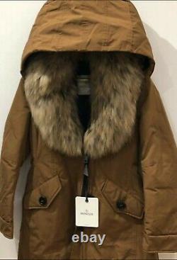 Genuine MONCLER Down Parka Coat Fur Hood Jacket Sz 4 UK 14 16 £1.3K BNWTS GIFT