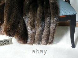 Genuine Real Long Hair Beaver Fox Fur Throw Blanket Quilt Coverlet Brown Coat
