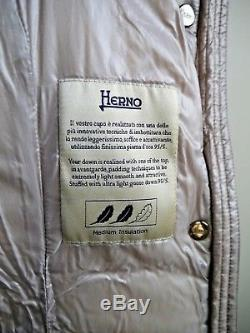 HERNO beige quilted down removable hood coat long jacket size 40 WORN ONCE