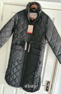 HUNTER REFINED LONG QUILTED JACKET, Black, Size UK XS, Brand New With Tags