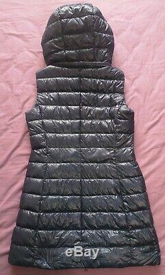 Herno Women's Dark Blue Long Sleeveless Down Vest Jacket Coat Size 42 Good Used