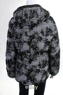 Herno Womens Long Sleeve Plaid Print Burnout Velvet Puffer Coat Italian Size 42