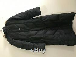 Hilary Radley NY Down Feather Size M Black Puffer Quilted Long Coat Warm Women