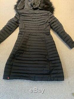 Hunter Black Refined Down Coat Fur Puffer Puffa Long Length Size 12 14 Medium