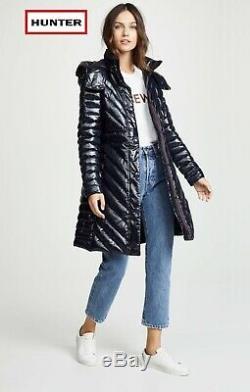 Hunter Womens Refined Down Puffer Down Jacket Black Coat Medium UK 16 £295 NEW