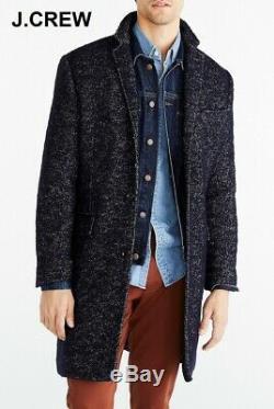 J. CREW herringbone overcoat 44 jacket navy blue long wool topcoat quilted coat