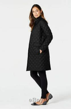 J. Jill M Long Black Quilted Down Light Puffer Jacket Coat NEW