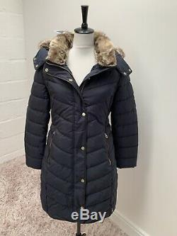 Joules Women Cherington Chevron Quilted Longline Padded Coat Size 16