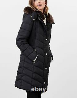 Joules Womens Cherington Chevron Quilted Longline Padded Coat True Black