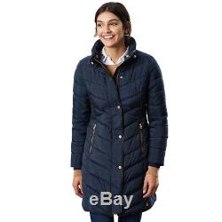 Joules Womens Cherington Long Length Warm Quilted Parka Coat