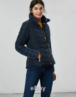 Joules Womens Gosway Chevron Quilt Padded Coat with Hood MARINE NAVY