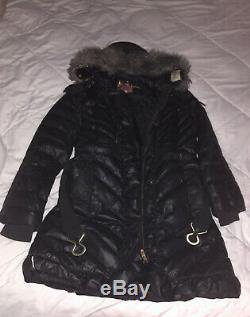 Juicy Couture Beautiful Black Long Warm Winter Coat W Belt Sz XL