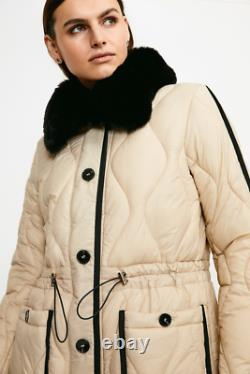 Karen Millen Faux Fur Quilted Coat Beige New with tag Size 14