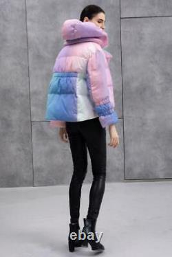 Kylie Jenner Pastel Rainbow Ombre Puffer Duck Down Jacket Winter Coat Oversize