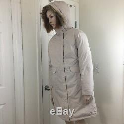 LL Bean Goose Down Beige Puffer Womens Hooded Long Coat Size M