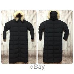 LL Bean Ultra Warm Coat Long Womens M Down Parka Navy Faux Fur Trim Hood Jacket