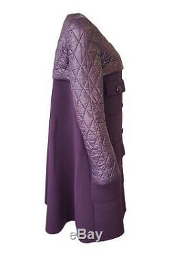 LOUIS VUITTON Women's Purple Quilted Shoulder Long Coat (42)