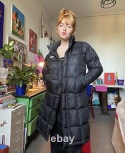 Ladies Long North Face Black Puffa Coat Slim Fit Size S/M
