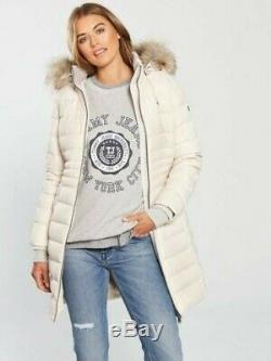 Ladies Long Quilted Down Cream Parka Size XL by Tommy Hilfiger