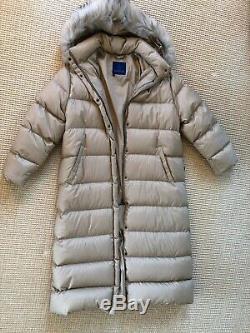 Ladies MONCLER Long Beige Down Coat with Detachable Hood Size Large (4) Pristine