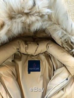 Ladies MONCLER Long Beige Down Coat with Detachable Hood Size Large (4) Pristine
