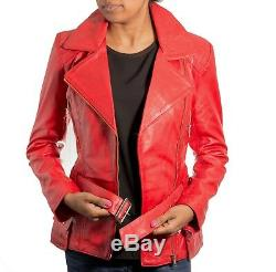 Ladies Red Leather Smart Quilted Long Belted Military Retro Vintage Biker Coat