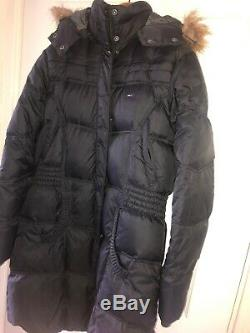 Ladies Tommy Hilfiger Denim Long Coat Down Warm X Large Duvet Zip