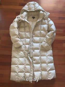 Lands End Long Beige Down Quilted Puffer Hooded Coat Jacket Parka XL 18-20