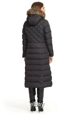 Lauren Ralph Lauren Long Hooded Faux Fur Trim Puffer Parka Coat S Black