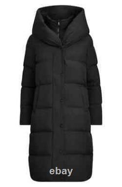 Lauren Ralph Lauren Womens XS Black Down Feather Coat Long Jacket Winter Puffer