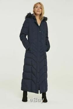 2f703e8a0 Long Tall Sally Tall Womens Chevron Quilted Maxi Puffer Coat in Navy