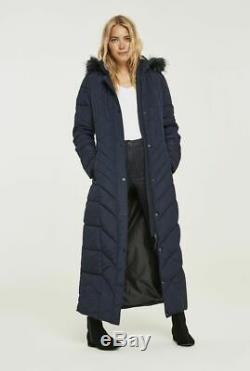 Long Tall Sally Tall Womens Chevron Quilted Maxi Puffer Coat in Navy