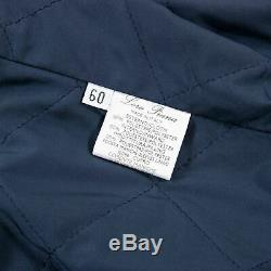 Loro Piana Blue 100% Cashmere Suede Trim Remov. Quilted Inlay Long Coat 50US
