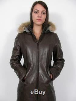 M0851 Brown Leather Hooded Fur Long Quilt Lined Zipper Parka Coat Jackets